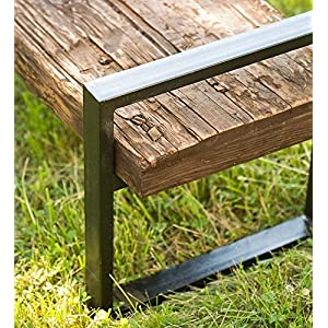 Reclaimed Wood And Iron Outdoor Bench