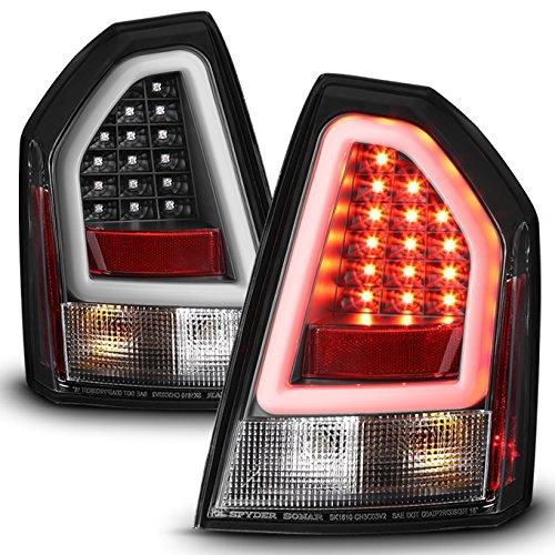 For 05 06 07 Chrysler 300C SRT8 Black Bezel LED Parking Light Tube Tail Brake Light Lamps Assembly