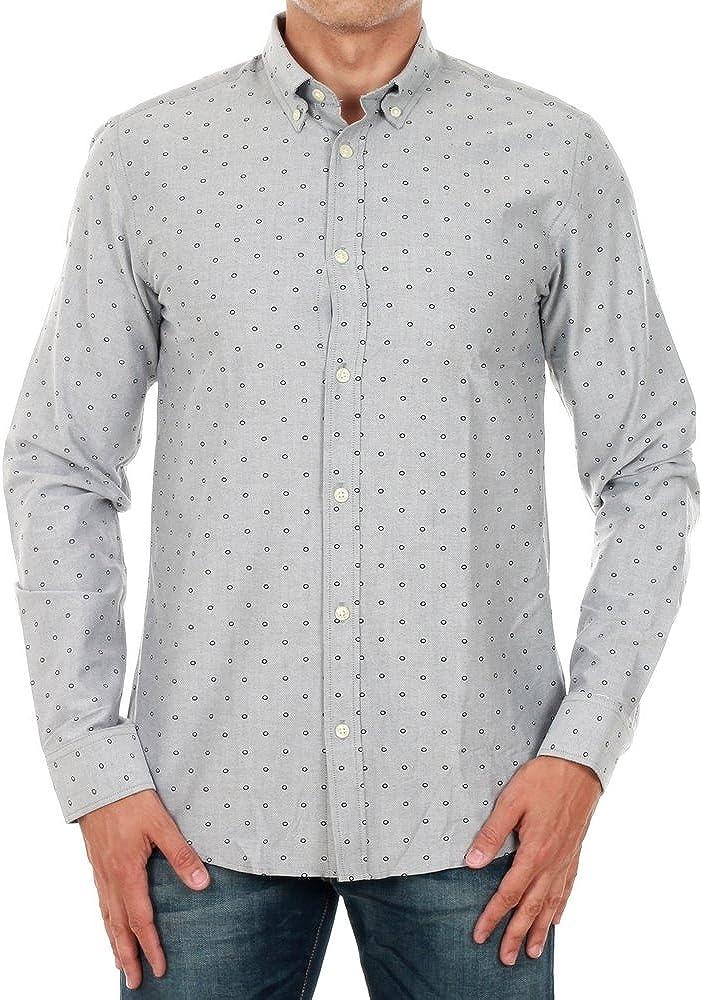 Camisa Jack&Jones Hombre Gris oscuro 12120733 JPRPANAMA SHIRT L/S BUTTON DOWN DARK GREY SLIM FIT