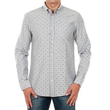 JACK JONES - Herren langarm slim fit hemd panama shirt s lichtgrau
