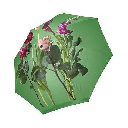Diseño personalizado flores arte diseño portátil moda paraguas plegable