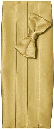 Boys Solid Poly Satin Bow Tie and Cummerbund Sets Light Yellow