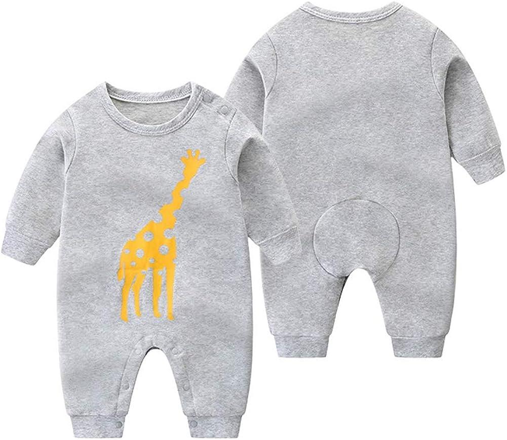 Xuefoo Newborn Baby Boy Romper Cartoon Dinosaur Print Long-Sleeve Jumpsuit One-Pieces Clothes