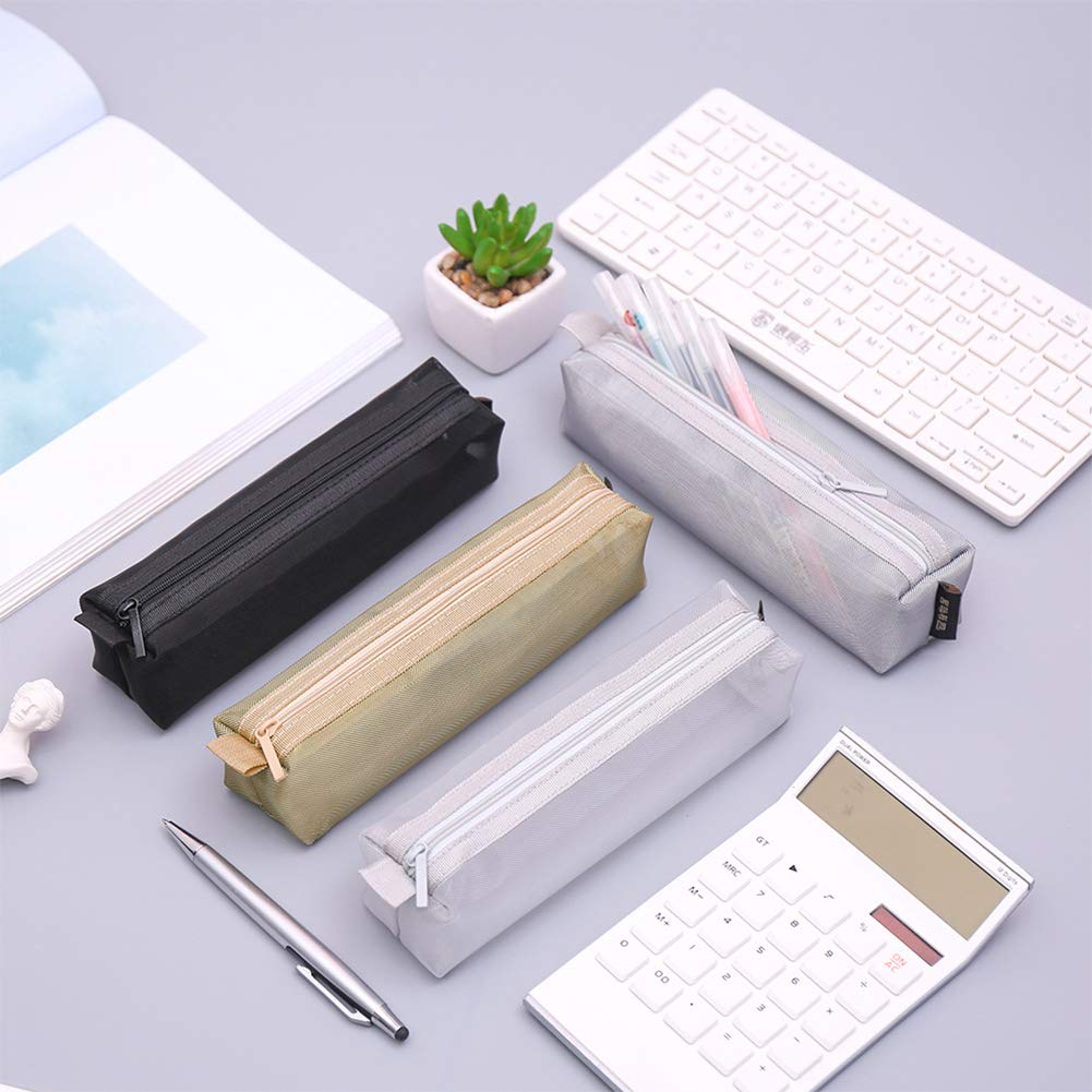 DishyKooker Simple Transparent Color Mesh Zipper Pencil Case for School Student Stationery Gray