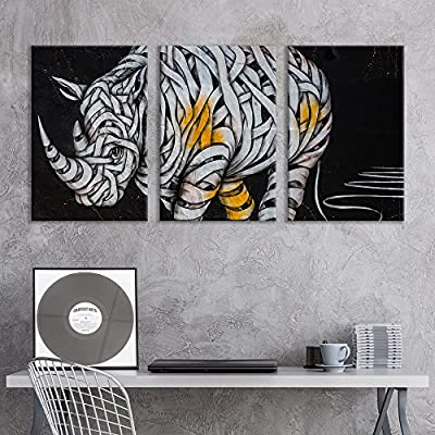 Mummy Style Rhino - 3 Panel Canvas Art