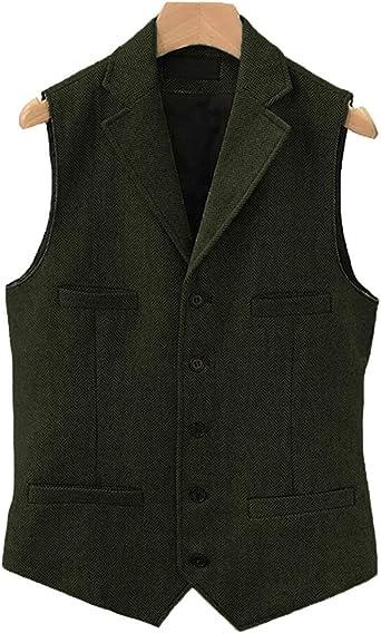 Mens Business Herringbone Suit Vest Slim Fit Wool Tweed Notch Lapel Waistcoat for Wedding