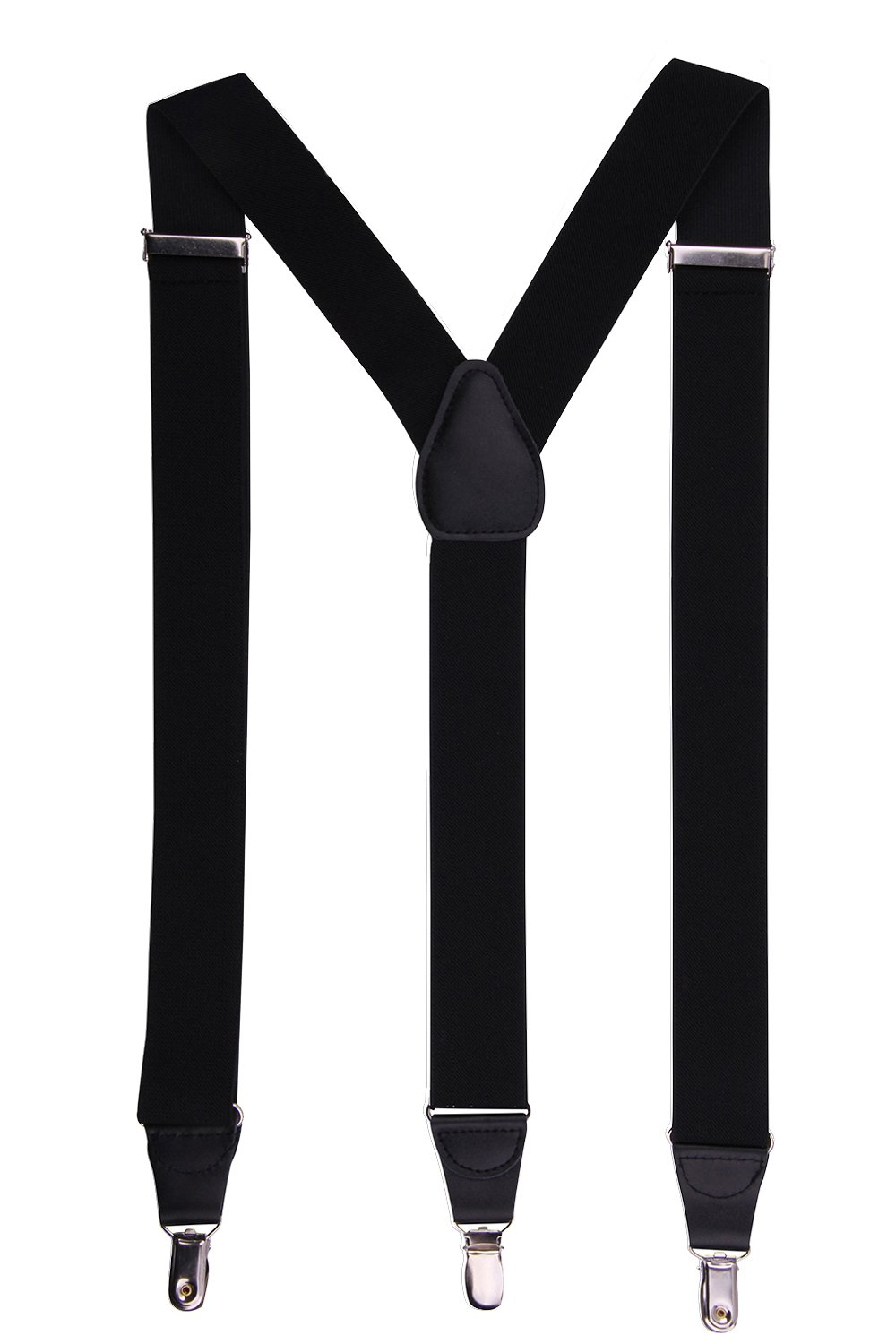 JINIU Men's Fashion Solid Straight Clip On Cool Formal Leather Suspenders Color Black Size One Size