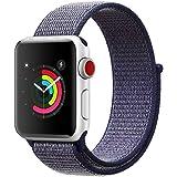 AIGENIU コンパチブル Apple Watch バンド、ナイロンスポーツループバンド Apple Watch Series4/3/2/1に対応 (42mm/44mm, ミッドナイトブルー)