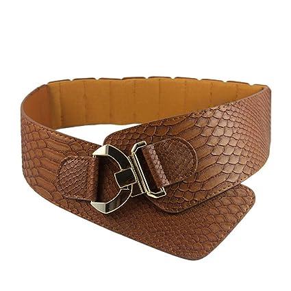 Dxlta Ceinture femme - PU cuir Snakeskin modèle Oblique élastique  personnalité dames filles Super Wide Belts df424f10908