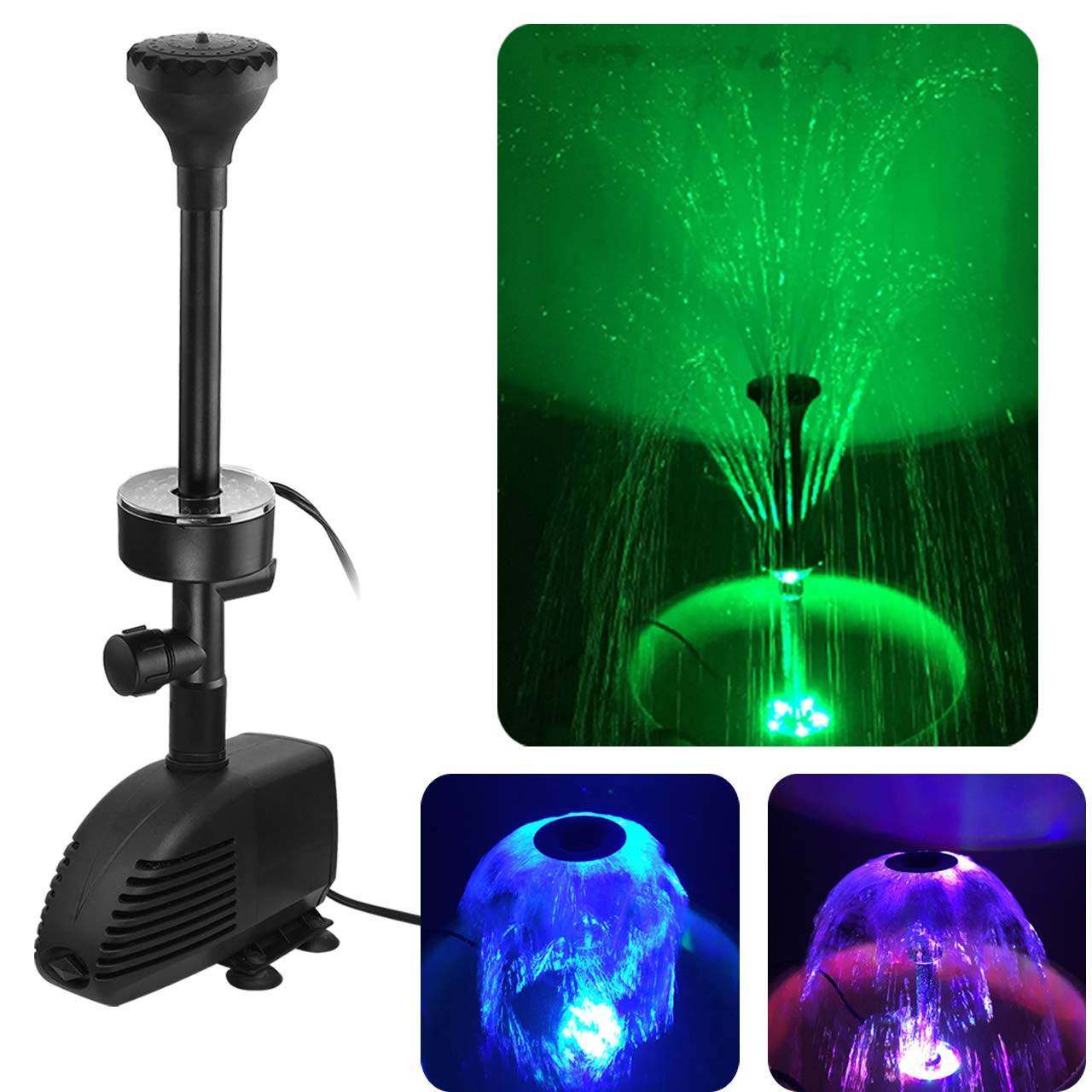 COODIA 660GPH(2500L/H, 110V/45W) Submersible Pump Pond Fountain with Inside Filter and RGB Colorful LED Light, Multiple Water Fountain Spray Nozzles Kit for Garden PondIndoor and Outdoor Landscape by COODIA