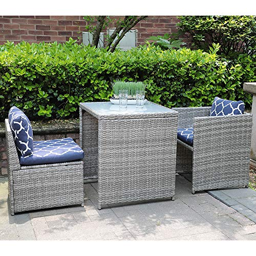 Casual Outdoor Patio Furniture - OC Orange-Casual 3 Piece Outdoor Patio Furniture Set Cushioned Rattan Wicker Conversation Dining Bistro Chair and Table | Space Saving Design | Garden Lawn - Grey & Navy Blue