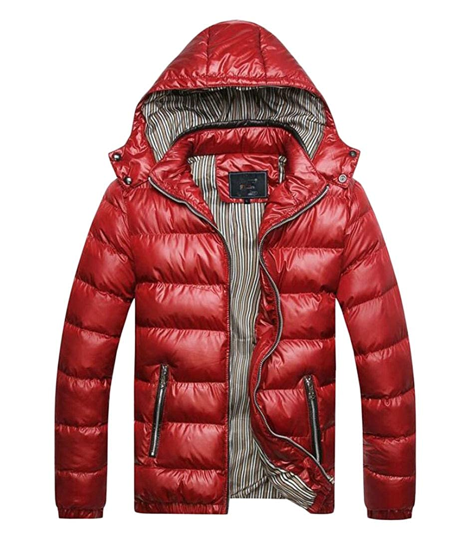 Domple Men Stand Collar Quilted Hooded Zip-Up Slim Down Coat Puffer Jacket