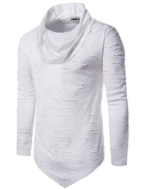 Pinkpum Camisetas Hombre Manga Larga Ajustadas Deportiva Transpirable con Cuello Alto Running/Gym/Deporte