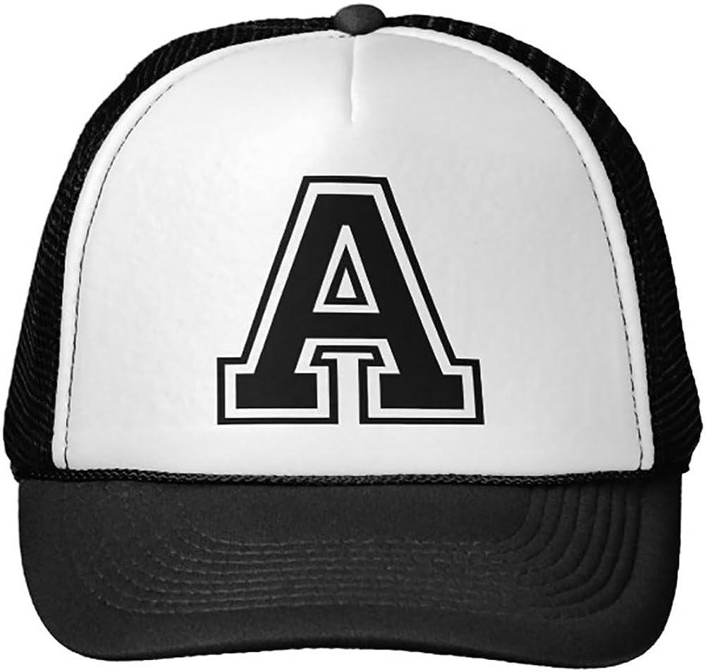 Goodaily Funny Letter A Initial Trucker Hat Baseball Mesh Caps Black