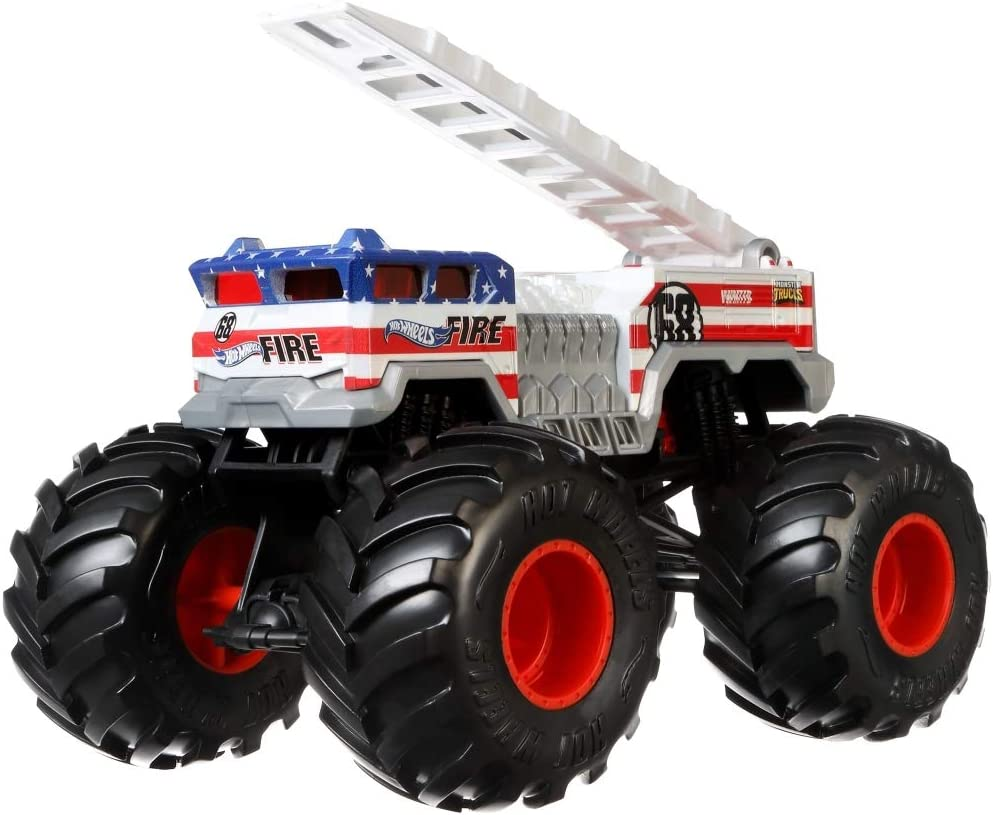 Amazon Com Hot Wheels Monster Trucks Alarm Die Cast 1 24 Scale Vehicle With Giant Wheels For Kids Age 3 To 8 Years Old Great Gift Toy Trucks Large Scales Toys Games