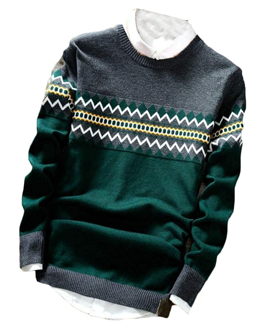 Unko Men Crewneck Long Sleeve Knitted Sweater Slim Fit Pattern Jumpers Sweaters