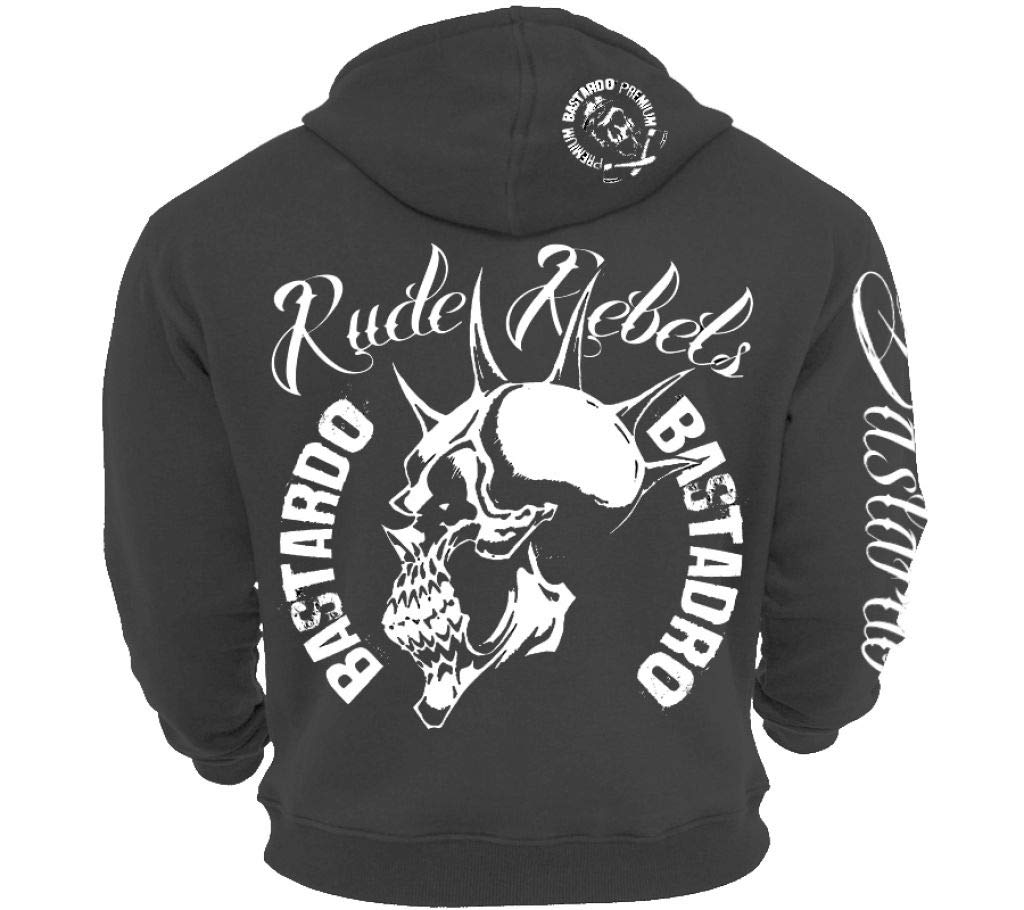 Ironbody Bastardo Kapuzen Sweatshirt Hoody & 039;Rude Rebels& 039; Slate Grau (Made in Germany )
