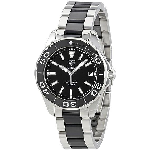 TAG Heuer Aquaracer de la mujer 35 mm de dos tonos pulsera de acero y carcasa cuarzo negro dial reloj way131 a. ba0913: Amazon.es: Relojes