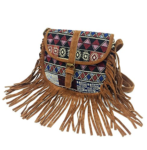 Geometric Fringe (Tossa Fashion Bohemian Tassel Cross body Bag Boho Bag With Fringe (Red geometric))