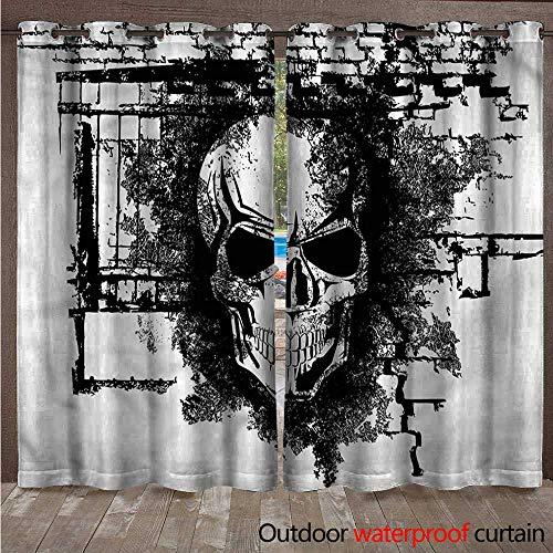 cobeDecor Tattoo Outdoor Balcony Privacy Curtain Furious Skull on Brick Wall W84 x L108(214cm x 274cm)