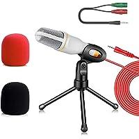 Micrófono Condensador Blanco Con Divisor De Audio Y Antipop, Micrófono para PC con Soporte Micrófono Condensador…