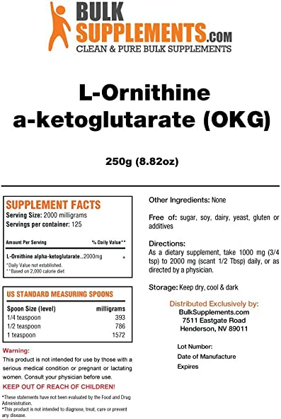 BulkSupplements OKG L-Ornithine a-ketoglutarate Powder 250 Grams