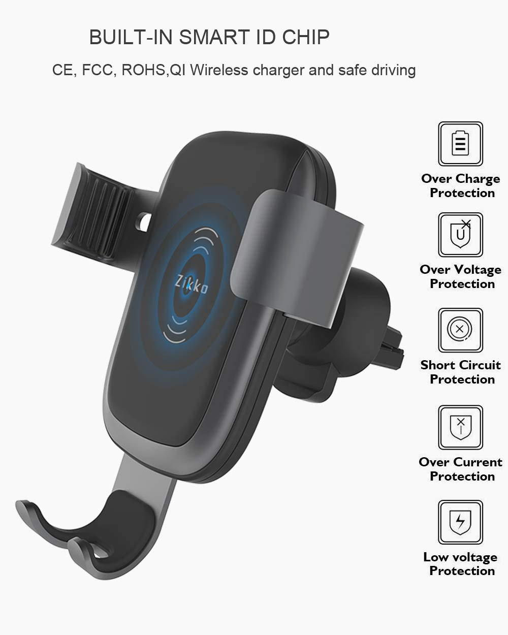 Zikko Wireless Car Charger Adjustable Gravity Air Vent Phone Holder 10W Fast Wireless Car Charger Mount Qi Wireless Car Charger Compatible for iPhone Xs Max//XR//X//8//8Plus Samsung S9//S8//Note 8 and More 4351513401