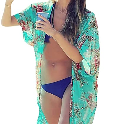 2d8132303f Image Unavailable. Image not available for. Color: Bhbuy Women Summer  Chiffon Swim Scarf Cover Up Beach Dress Bikini Swimwear Bathing Suit Sarong  Pareo