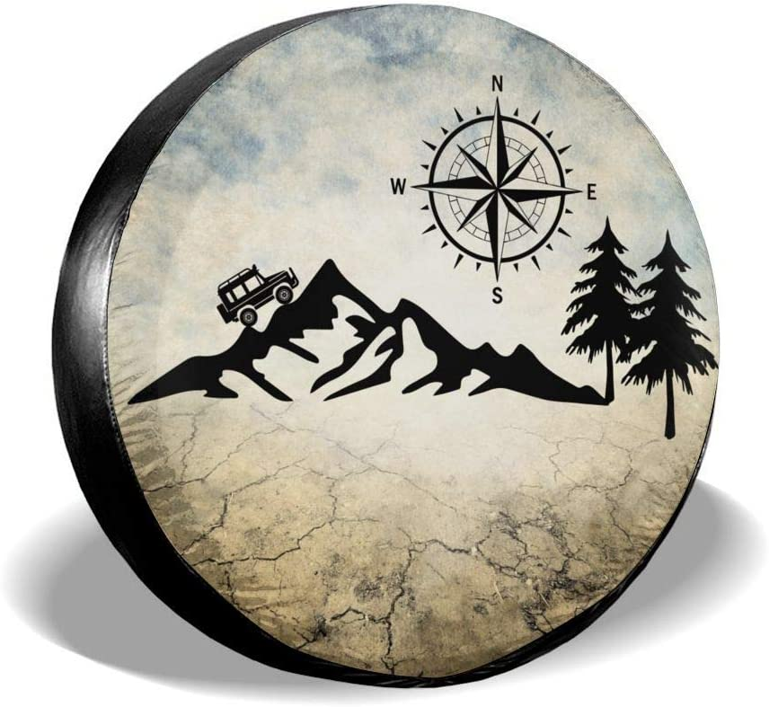 YZ-MAMU Nature Mountain Compass Camper Jeep Spare Tire Cover Dust-Proof for Jeep Trailer RV SUV Truck Camper Travel Trailer Accessories