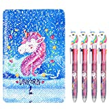 Unicorn Notebook Set, 4 Pieces Unicorn Multicolor Pens with Reversible Sequin Unicorn Pattern Notebook for Party Gifts and School Supplies (Color 1)