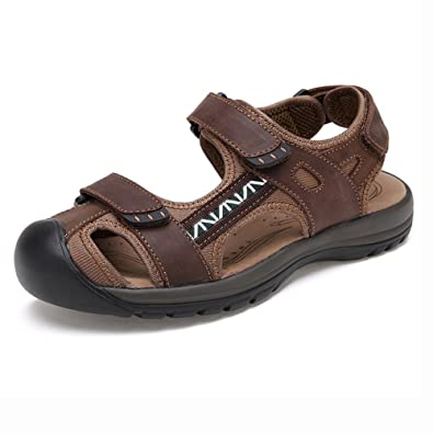 Gents' Ultra-light Hook-and-loop Back-Strap Sandal Holiday Fisherman Outdoor Leather MSD004