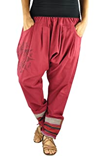 virblatt Pantalones cagados en Estilo Harem de Entrepierna Baja para Hombres y Mujeres con Tatuaje Espiritual