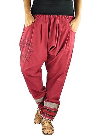 virblatt – Haremshose Damen und Herren Alternative Kleidung - Paed Tidt  Yant rot 386e301ed2