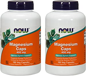 NOW Magnesium 400mg,180 Capsules (Pack of 2)