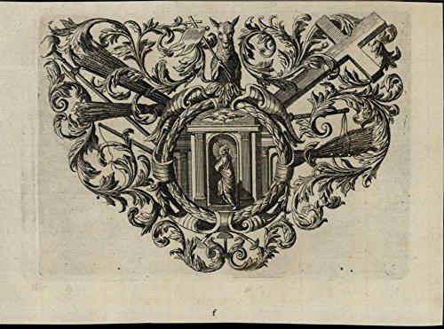 (Man in Doorway Cross Sheep Grain Bundles 1705 wonderful rare antique print)