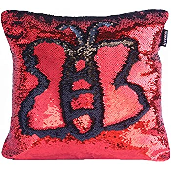 Livedeal Reversible Sequins Mermaid Pillow Cases 4040cm Red and Black