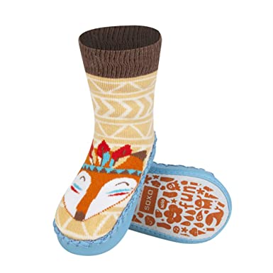 Baby Moccasin Slipper Socks With Leather Sole Beautiful Color Fits