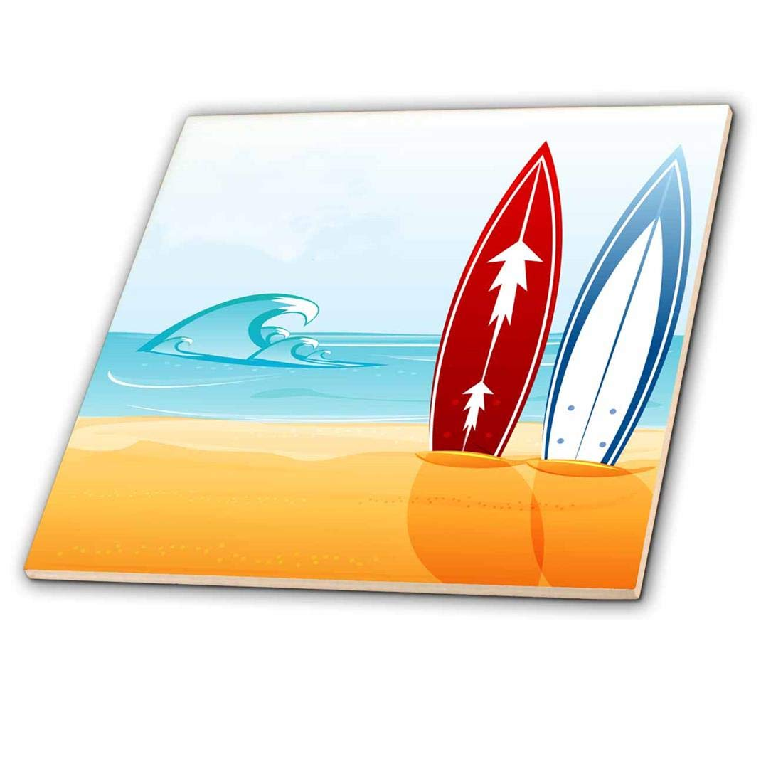 6-Inch 3dRose ct/_159028/_2 A Scene of The Ocean with Two Surfboards Ceramic Tile