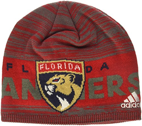 fan products of NHL Florida Panthers Adult Men Pro Authentic Cuffed Beanie with Chrome Shield, One Size, Red