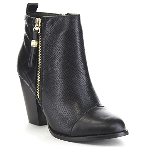 Bella Marie Gina 15 Women's Cap Toe Zip Up Quilt Snake Fashion Ankle Bootie