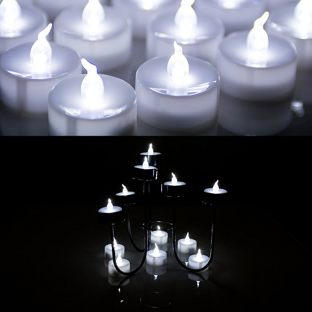 100 PCS Flameless Tea Lights, AGPtek Battery Operated No flicker Steady LED Candles for Holidays Party Wedding – White by AGPTEK (Image #3)
