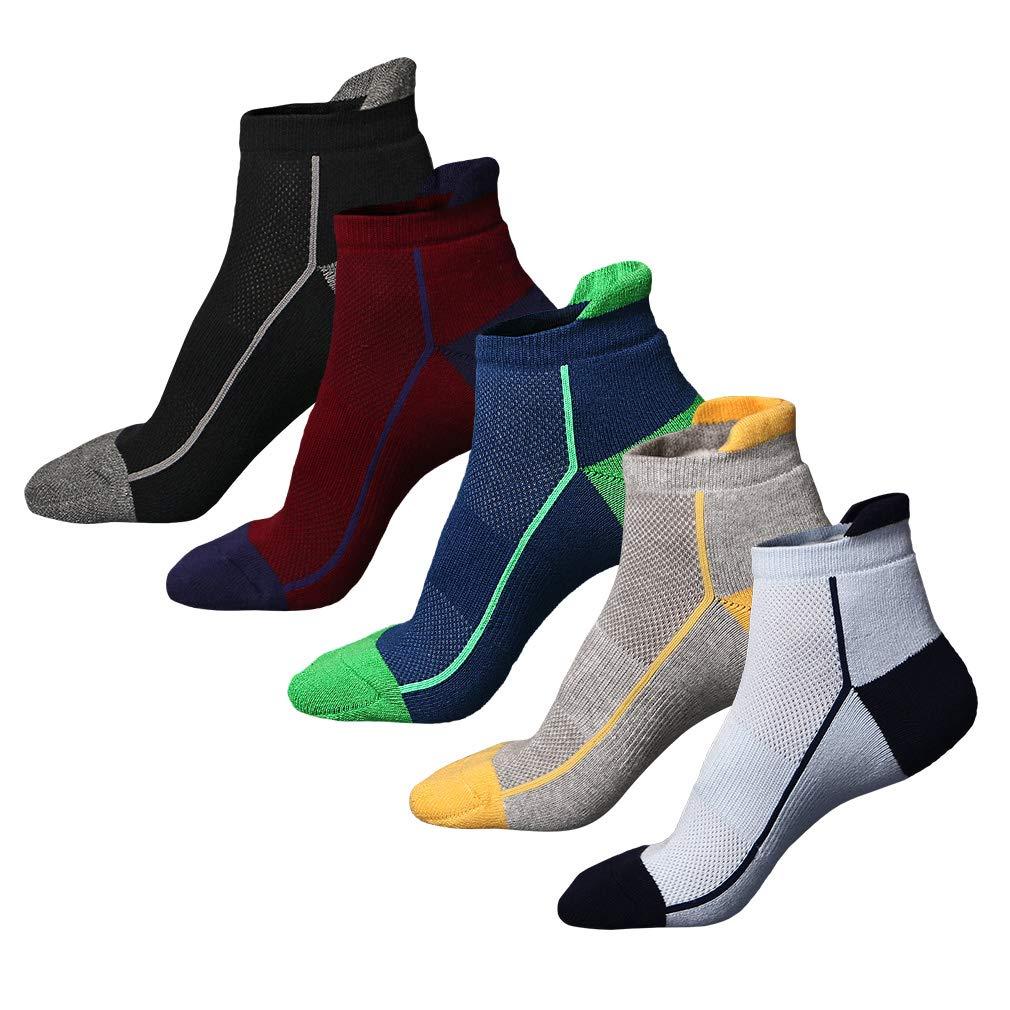 AIYUE Mens Ankle Socks 5 Pairs Half Cushioned Athletic Cotton Socks 6-9.5 UK 38-44 EU