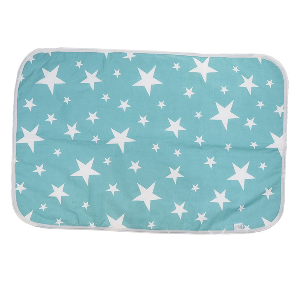 MagiDeal Changing Pad Portable Waterproof Changing Mat for Home Travel Stroller Crib Car - Green Star, 60x75cm non-brand