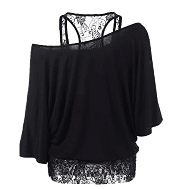 b4fd630f Amazon.com: Han Shi Blouse, Women Sexy Fashion Lace Loose Long Sleeve Tank Tops  Shirt Plus Size: Clothing