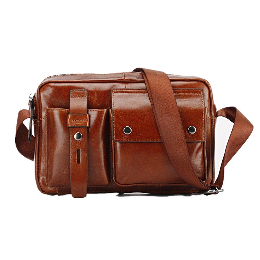 クロスボディバッグ シンプルでスタイリッシュなメンズレザーラップトップブリーフケースビジネスメッセンジャーバッグサッチェル (色 : 褐色) B07RHWW8M5 褐色