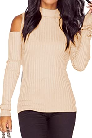 b6ae985dfcc957 YMING Women s Casual Sweater Knitted Pullover Top Open Shoulder Jumper