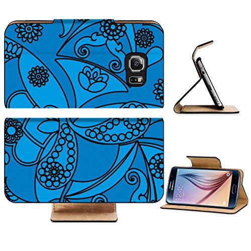 Luxlady Premium Samsung Galaxy S6 Edge Flip Pu Leather Wallet Case IMAGE 28250471 floral pattern in vintage style