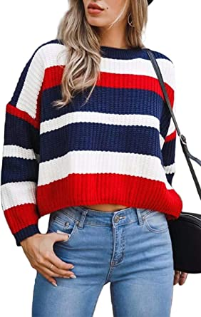 Red Blue Stripe Batwing 3//4 Sleeves Tie Front Oversized Top Blouse Size S XL