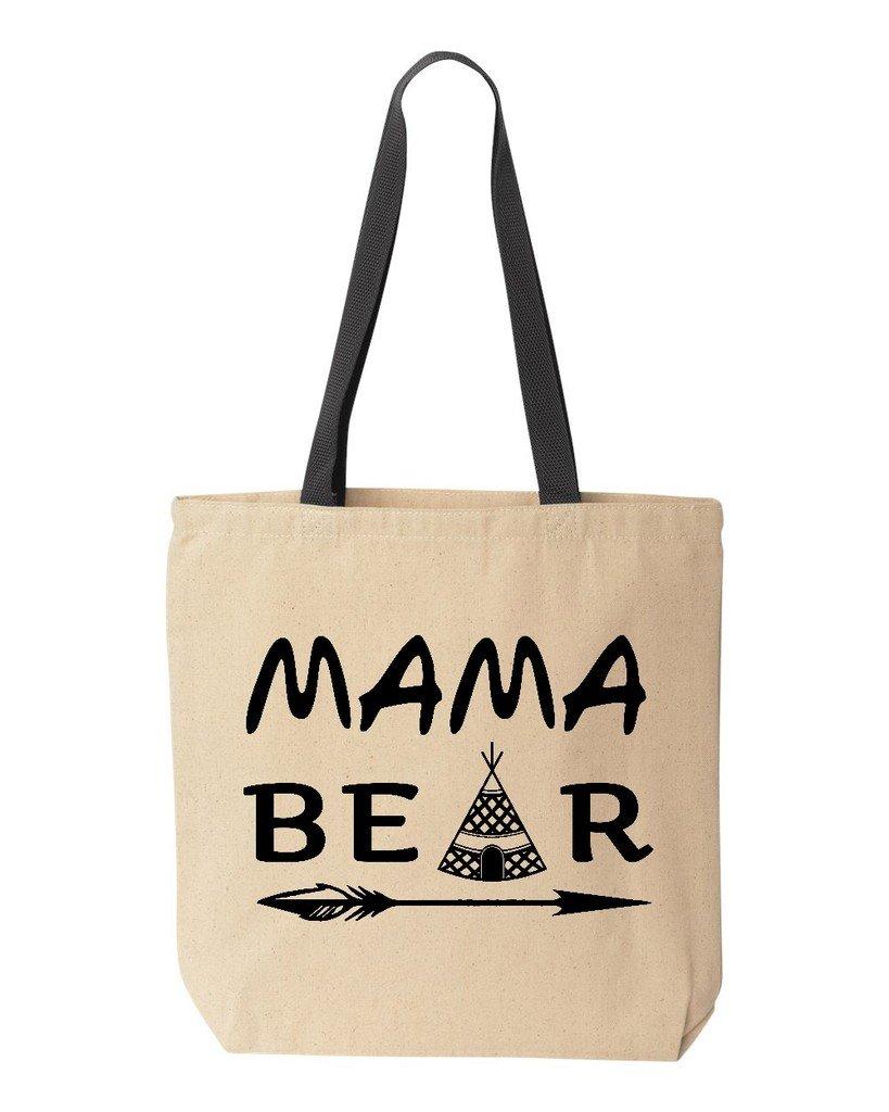 shop4ever Mama Bear Topブラックコットンキャンバストートバッグ母の日再利用可能なショッピングバッグ10 oz色付きハンドル 10 oz ブラック S4E_1215_MamaBear2Bk_TB_8868_Black_3 B06XX23GYY  ナチュラル-ブラック