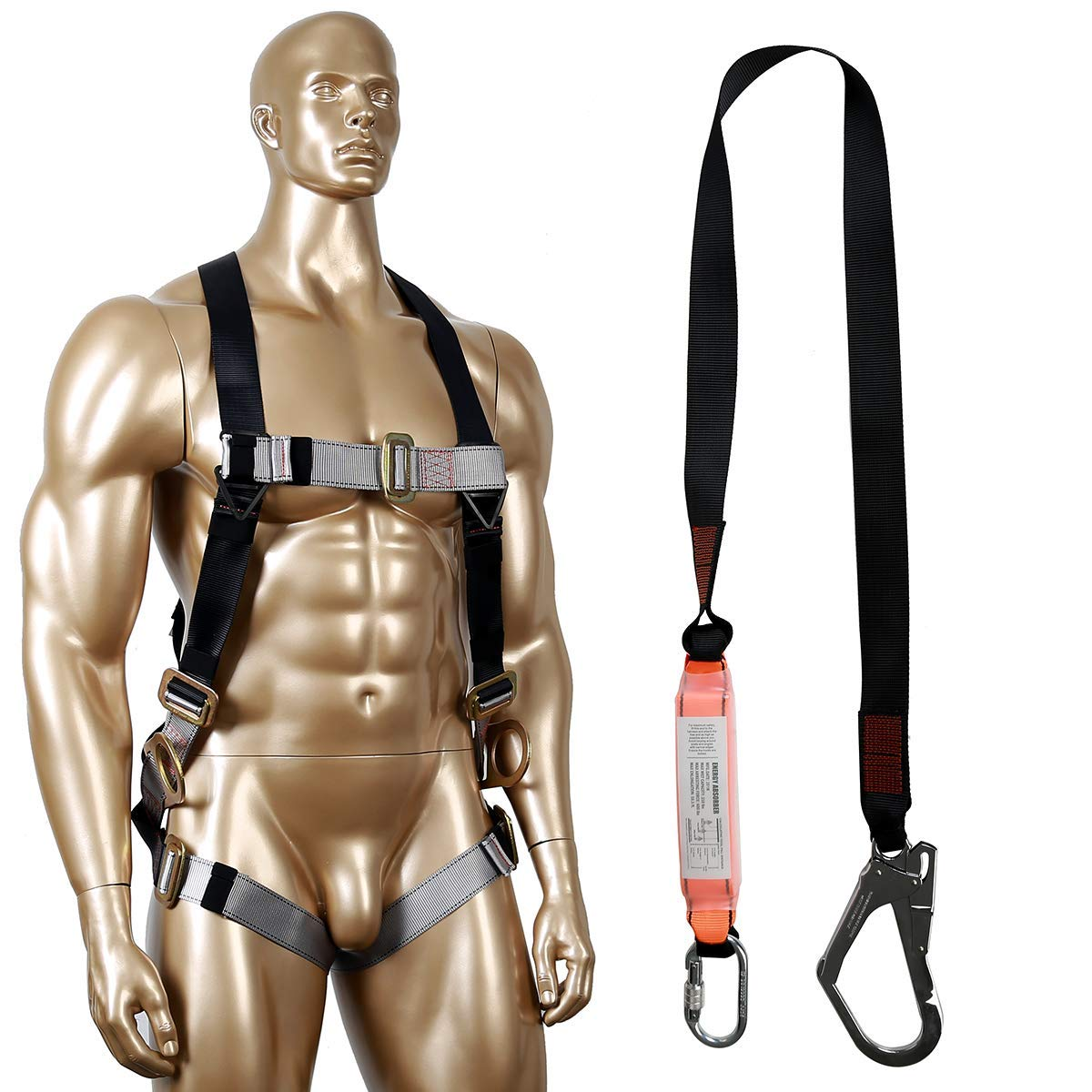 KSEIBI 421026A Full Body Fall Protection Light Weight Safety Harness w 3 D-Ring and Chest Pass Thru Buckles including Single Leg Snap Hook and Scaffolding Hook w 6-Foot Internal Shock Lanyard (Single) by KSEIBI